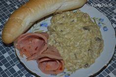 Drožďovo-šampiňónová praženica (fotorecept) Sausage, Meat, Chicken, Food, Sausages, Essen, Meals, Yemek, Eten