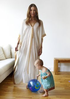 "SAIRA CAFTAN: GAUZY, ELEGANT LONG White CAFTAN WITH Sari Fabric and SILK RIBBON TRIM   49"" AS PICTURED OR 45"" UPON REQUEST."