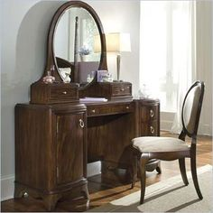 Lea Elite Rhapsody Wood Pedestal Vanity/Desk in Dark Cherry - 846-266