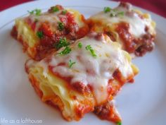 Three Cheese Beefy Lasagna Roll Ups from Life as a Loft house;