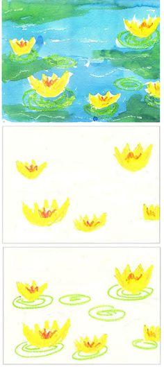 http://www.artprojectsforkids.org/2013/09/monets-watercolor-water-lilys.html