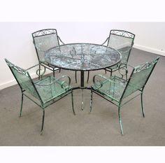 Vintage Mid Century Modern Wrought Iron Patio Dining Set Table Chairs  Salterini