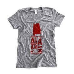 Alabama Tee Women's Gray, $23, now featured on Fab.