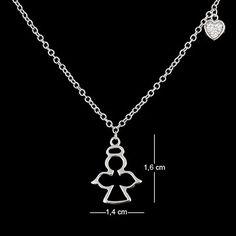 Corrente de prata com ródio pingente anjo e coração com zircônia