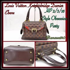 Authentic Louis Vuitton Knightsbridge Damier Ebene Authentic  Louis Vuitton Knightsbridge Damier Ebene Satchel Handbag Brown and tan Damier Ebene coated Louis Vuitton Knightsbridge bag with brass hardware, brown leather trim, pocket at front w/buckle closure red alacantara lining, single pocket at interior wall and zip closure at top. Date Code VI0037 Louis Vuitton Bags Satchels