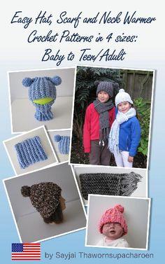 Easy Hat, Scarf and Neck Warmer Crochet Patterns in 4 sizes: Baby to Teen/Adult Crochet pattern by Sayjai Thawornsupacharoen   Knitting Patterns   LoveKnitting