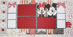 This is another layout that I designed for A Scrap in Time . Mickey and Minnie were cut out on the Cricut . Vacation Scrapbook, Disney Scrapbook Pages, My Scrapbook, Scrapbook Paper Crafts, Disney Cards, Disney Fun, Disney Ideas, Disney Mickey, Disney Cruise