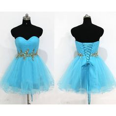 blue prom dresses,Blue A-line Sweetheart Short Mini Tulle