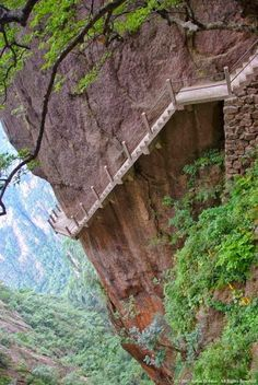 Cliff Path, Huangshan Mountain, China.