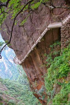 Cliff Path, Huangshan Mountain, China.