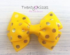 Purple hair bow with gold dotstoddlergirlbaby hair by TwentyKisses