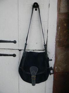 696fea31747 1960 s Vintage Denim Blue Suede Leather Purse by TheShingledBarn