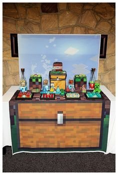 Main Table from a Minecraft Birthday Party via Kara's Party Ideas |