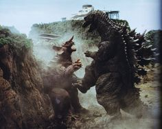 Baragon is ravaged by Godzilla in GODZILLA, MOTHRA, KING GHIDORAH: ALL-OUT MONSTER ATTACK (2001)