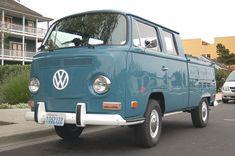 Volkswagen Bay Window Crew Cab Pickup truck painted stock Neptune Blue L50K