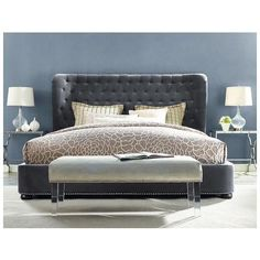 Tov Furniture, TOV-B19-K, , Tov Furniture Finley Grey Velvet Bed In King 1 Headboard And Footboard Tov B19 K