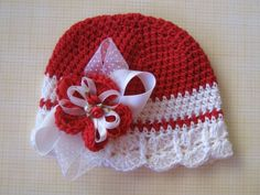 Christmas -Red and White Chrocheted Hat w/ Innerchangable Flower Clip-Holiday Hat-Photo Prop-M2M Crochet Hat-Flapper Girl Inspired Hat