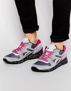 Trainers by Reebok Ripstop with suede overlays Lace-up fastening Signature branding Padded, shaped cuff Speckled sole Textured tread Treat with a leather protector 50% Real Leather, 50% Textile Upper Reebok style code: M49211