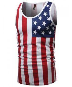 ddea4ef487f10 Men s American Flag Patriotic Sleeveless Tank Top Stylish Clothes