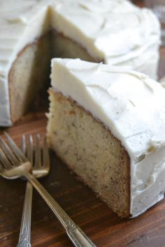 moist and dense banana cake with spiced vanilla frosting.