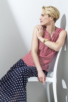 Print on print, with a nautical twist. Henley sleeveless blouse worn with a polka dot maxi skirt. Nautical Fashion, Art Direction, Sleeveless Blouse, Fashion Online, Polka Dot, Stylists, Fashion Accessories, Plus Size, Clothes For Women