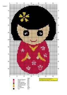 Kokeshi hama perler beads pattern