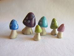 Colorful Miniature Mushrooms Rustic Mushrooms by walkercrafts