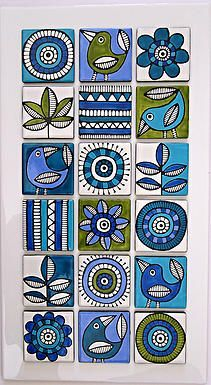 lime and aqua design Más Más / Photo NikaHandpainted Tiles - would be super cool for a small table topHandpainted Tiles by emily - Would work well as lino cut designs.Handpainted Tiles click now for more info.wall tiles, by Jocelyn Proust Pottery Painting, Ceramic Painting, Fabric Painting, Ceramic Art, Ceramic Pottery, Watercolor Painting, Madhubani Art, Madhubani Painting, Indian Folk Art