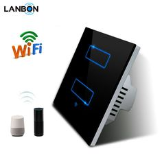 Lanbon Eu Au Smart Switch Touch Screen Wall Light Switch 2gang 3gang 1 Way 2 Way Google Home Amazon Alexa Wifi Remote Switches