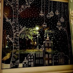 festive window art of chalk pencil. - festive window art of chalk pencil. Chalk Pens, Chalk Art, Elegant Christmas, Christmas Art, Painted Windows For Christmas, Christmas Landscape, Simple Christmas, Window Markers, Christmas Window Decorations