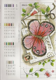 Butterfly and post card cross stitich Cross Stitch Boards, Cross Stitch Love, Cross Stitch Needles, Cross Stitch Animals, Cross Stitch Designs, Cross Stitch Patterns, Cross Stitching, Cross Stitch Embroidery, Embroidery Patterns