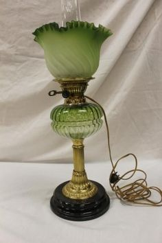Lot: Brass banquet lamp with green shaded ribbed font and, Lot Number: 0090, Starting Bid: $100, Auctioneer: Mark Mattox Real Estate & Auctioneer, Auction: LABOR DAY ANTIQUES AUCTION, Date: September 5th, 2016 EDT