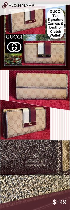 """GUCCI Tan Signature Canvas & Leather Clutch Wallet GUCCI Tan Signature Canvas & Leather Clutch Wallet! 100% authentic, Gucci """" GG"""" signature design, silver leather trim & interior. striped snap closure, silver tone GUCCI hardware, 7 credit card slots, 2 billfold pockets, 2 slip pocket & 1 snap coin pocket. Stamped """"GUCCI made in Italy"""" on inside with Serial No. Stamped on inside. Measures 7 1/5"""" across x 3 3/4 """"high"""" closed, 8"""" open x 1"""" wide. Some peeling on inner pocket, wear on leather…"""