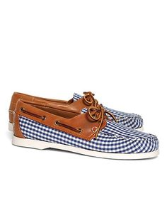 2b46dfb70 Gingham Boat Shoes JP Crickets Brooks Brothers Eagle Shoes