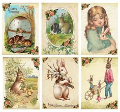 Vintage Easter Tags | Vintage Easter 6 bunny rabbit antique pictures note cards tags scrapb ...