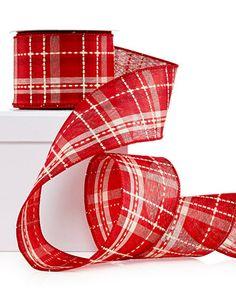 Holiday Lane Red Plaid Ribbon Decoration - Christmas Decorations - Holiday Lane