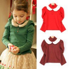 china wholesale Kids Girls Lovely High Collar Puff Long Sleeve Buttons Front Doll Collar T-Shirt Tops Blouse 2-7 Years