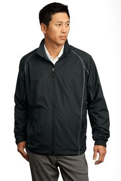 Nike Golf-Full-Zip Wind Jacket.Equipped with back vents and a mesh lining.Contrast stitching and a zip-through collar give modern style. Features adjustable cuffs with hook and loop closures, front zippered pockets and an open hem with drawcord and toggle. The tonal Swoosh design trademark is embroidered on the lower left sleeve. Made of 3.28-ounce, 100% polyester.-Arizona Cap Company-(480) 661-0540 Custom Printed & Embroidered.Visit our site for colors available and the price.