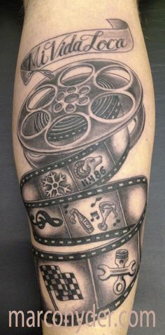 tattoo, film reel tattoo, mi vida loca, black and gray, i've seen this picture all over the internet without credit of course. hopefully this one will pop up now. http://pinterest.com/treypeezy