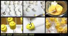 Geburtstag Paul Lego Head Marshmallow Pops Recipe - easy and adorable Lego Cake Pops for your Lego birthday party. Adorable Lego head decorations and treats. Lego Cake Pops, Cake Lego, Cake Minion, Minion Cupcakes, Minecraft Cake, How To Make Marshmallows, Chocolate Covered Marshmallows, Marshmallow Pops, Monster Birthday Parties
