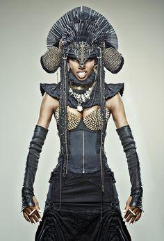 "For Five & Diamond / Photography by Allan Amato / Styling by Ricardo Felix / Makeup by Medina Maitreya / ""Pharoah"" Headdress by Monica Wallway"