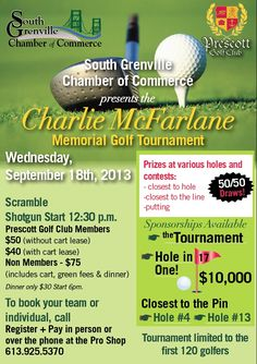 """Wednesday September 18, 2013 South Grenville Chamber of Commerce Presents; """"The Charlie McFarlane Memorial Golf Tournament"""" Members of the Golf club get a reduced fee. Non-members of the Prescott Golf Club are $75.00 which includes cart, green fees and dinner! Prizes will be awarded, in addition there is $10, 000.00 up for grabs if a golfer makes a hole in one thanks to Canadian Tire!  To book call 613-925-5370! Golf carts are mandatory and the tournament is limited to the first 120 golfers. First Prize, Hole In One, Canadian Tire, Chamber Of Commerce, Local Events, Golfers, Golf Carts, Wednesday, September"""