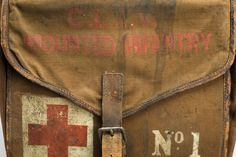 """★ Saddle bag first aid kit, England, 1914-1918: """"Marked with the words """"Mounted Infantry"""", this First World War British Army first aid kit was made to be carried on a horse, with each box hung either side of the horse's body. The kit contains bandages, dressings, hypodermic syringes and carron oil for burns, all made by Burroughs Wellcome & Co. ..."""" Credits: Science Museum London"""