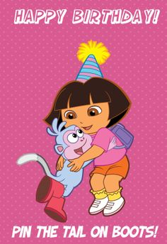 Dora Explorer Birthday Party Game Pin the Tail on Swiper by