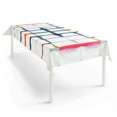 Hay & Margrethe Odgaard's Fold Unfold Tablecloth. The crease lines of a folded tablecloth are highlighted by the vibrant reactive dyes digitally printed on soft 100% cotton.