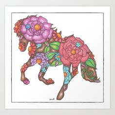 Not theses colors, but I like the idea of flowers creating the outline of a horse for a tattoo!