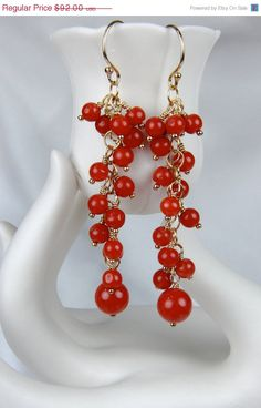 Vintage native american long beaded earrings   red gold chandelier ...