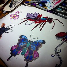 crystal insects ✨ #copic #drawing #tattoo #tattooflash #traditional #neotraditional #larissalistless #artwork #art #colorful #cute #colorexplosion #instagood #design #color #tattoodrawing #crystals #insect #bug #butterfly #comic #ant