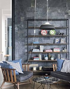 Modern Rustic Living Room with Slate Wall