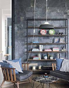 Modern Rustic Living Room with Slate Wall